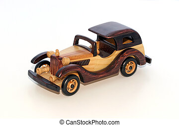 Wood model vintage roadster for home accent and decoration