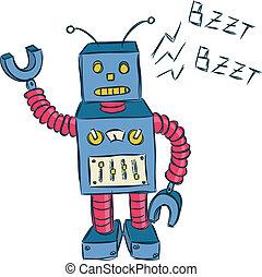 vintage robot doodle