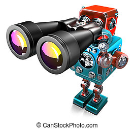 Vintage Robot with binoculars. Isolated. Contains clipping path