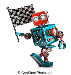 Vintage robot with checkered race flag. Isolated. Contains clipping path