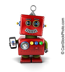 Vintage robot with smartphone - Red, little vintage toy...