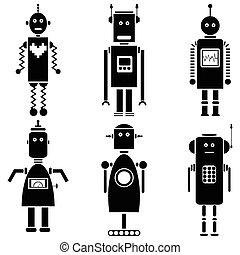 Vintage robots icons set of 6