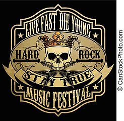 vintage rock and roll typographic for t-shirt; tee design; poster; vector illustration