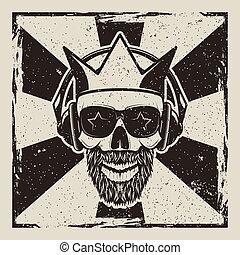 Vintage rock star vector grunge illustration