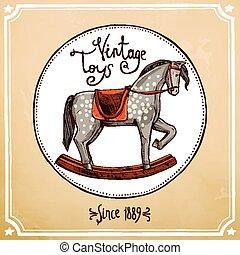 Vintage Rocking Horse - Hand drawn vintage style rocking...