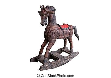 Vintage rocking horse isolated.
