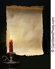 Vintage roll lit a candle