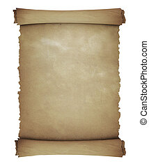 Vintage roll of parchment - isolated on white