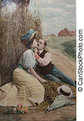 Vintage romance in haystack - passionate love, couple ...