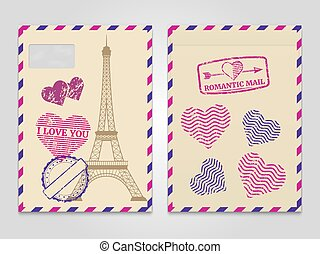 Vintage romantic envelopes with Eiffel tower and love stamps