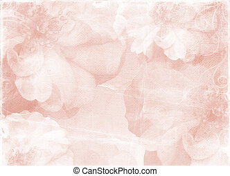 Vintage romantic paper background with roses