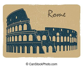 Vintage rome coliseum logo emblem postcard design