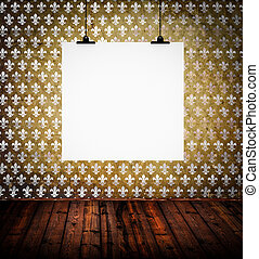 Vintage room interior with blank paper board on wall