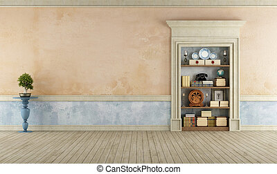Vintage Room with classic stone portal used as a bookcase -...