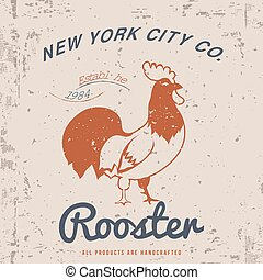 Vintage Rooster Illustration. T-shirt Design. Vector