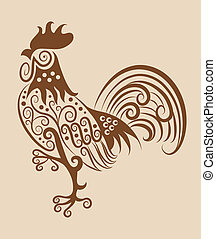 Vintage rooster ornament - Rooster drawing with curl ...
