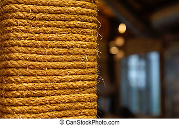 vintage rope closeup with copy space background. shallow depth o