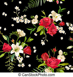 Vintage Rose and Lily Flowers Background. Spring and Summer Seamless Pattern in Vector