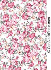vintage rose on fabric background