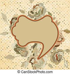 Vintage rose pattern on polka dot. EPS 8