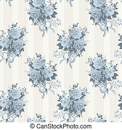Vintage rose wallpaper pattern. Vector background in blue
