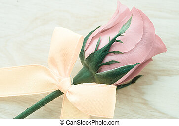 vintage rose with ribbon