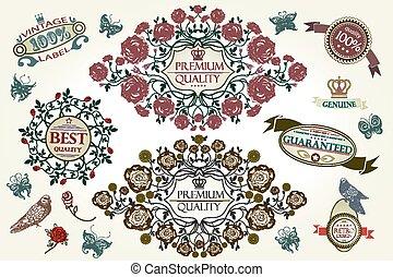 Vintage roses design elements, page decoration, Premium Quality, Satisfaction Guarantee Label collection. Vector, EPS10