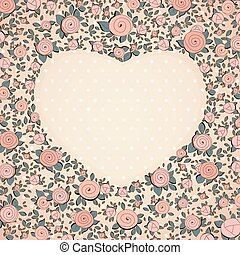 Vintage roses in shape of a heart. Vector