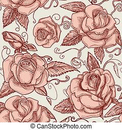 Vintage roses seamless pattern