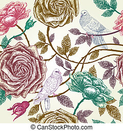 Vintage roses seamless pattern with birds.