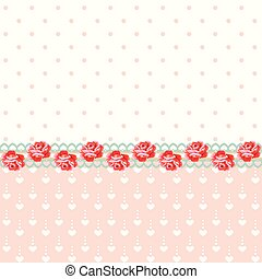 Vintage roses with polka dots and h