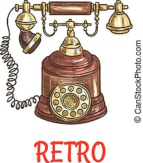 Vintage rotary dial telephone colored sketch