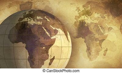 vintage rotating globe and map loop