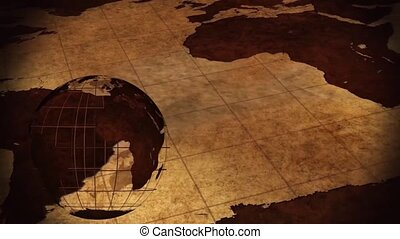 Vintage Rotating Globe And Map Of The World Background - video screen
