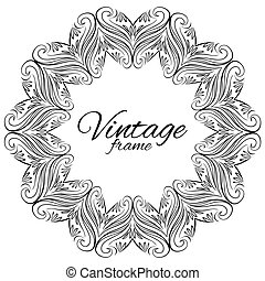 Vintage round floral frame with space for text. Vector element for cards, tags, label, invitation, scrapbooking and your creativity