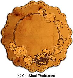 Vintage round frame adorned with roses. Vector illustration