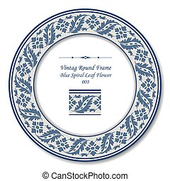 Vintage Round Frame of Retro Blue Spiral Leaf Flower