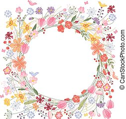 Vintage round frame with contour field flowers on white