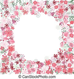 Vintage round frame with contour red flowers isolated