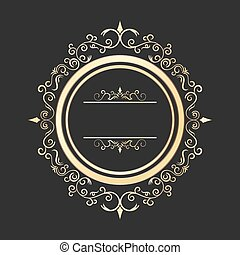 Vintage round gold floral frame vector. Ornate calligraphic...