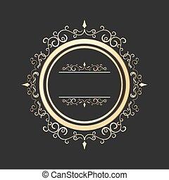 Vintage round gold floral frame vector. Ornate calligraphic design element.
