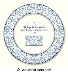 Vintage Round Retro Frame blue round curve cross flower vine