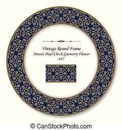 Vintage Round Retro Frame mosaic pixel cross check geometry flower
