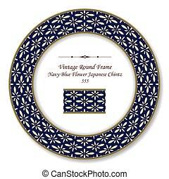 Vintage Round Retro Frame Navy Blue Flower Japanese Chintz