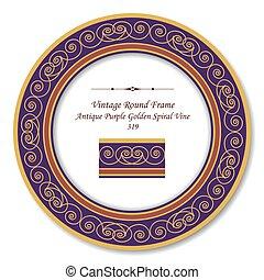 Vintage Round Retro Frame of Antique Purple Golden Spiral Vine