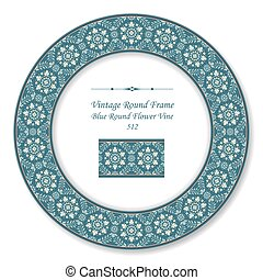Vintage Round Retro Frame of Blue Round Flower Vine