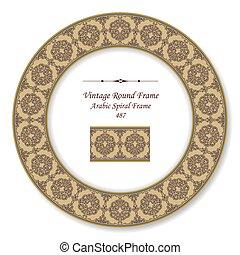 Vintage Round Retro Frame of Brown Arabic Spiral Frame