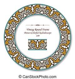 Vintage Round Retro Frame of Brown Colorful Kaleidoscope