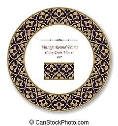 Vintage Round Retro Frame of Brown Curve Cross Flower