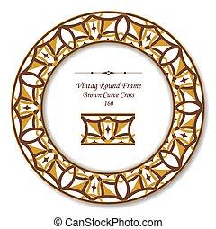 Vintage Round Retro Frame of Brown Curve Cross